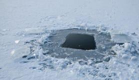 冬天捕鱼漏洞 图库摄影