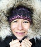 冬天敞篷的妇女 库存图片