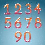 冬天数字设置与雪盖帽 与s的冻结的新年数字 向量例证