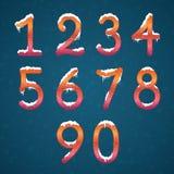 冬天数字设置与雪盖帽 与s的冻结的新年数字 库存例证
