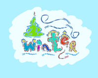 冬天文本手拉的创造性的季节性卡片 免版税库存照片