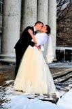 冬天新娘夫妇 免版税库存图片
