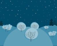 冬天无缝晚上的横向 免版税库存图片
