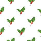 冬天无缝的样式用霍莉莓果和叶子在水彩在白色背景 抽象空白背景圣诞节黑暗的装饰设计模式红色的星形 库存照片