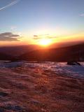 冬天日出在弗吉尼亚俯视 免版税库存照片
