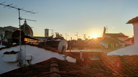 冬天日落在佛罗伦萨 库存图片