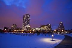 冬天日落在密尔沃基 图库摄影