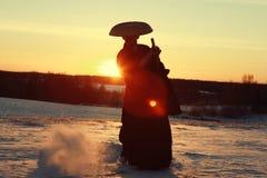 冬天日落的战士 库存照片