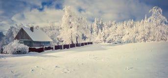 冬天早晨在喀尔巴阡山脉的村庄 库存图片