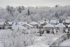 冬天早晨在小镇 库存照片