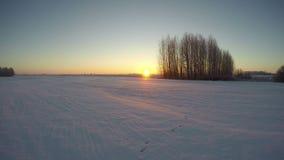 冬天早晨日出,时间间隔4K 股票录像