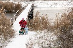 冬天时尚衣裳的两个愉快的孩子乘坐与玩具猪和涉及的一个雪橇河上的桥 第一雪, fam 免版税库存照片