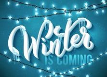 冬天是与现实冰柱和圣诞节闪耀的光的以后的海报 向量 库存例证