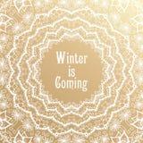 冬天是以后的字法 金黄祝贺卡片 库存例证