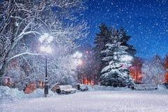 冬天晚上在公园 城市克里姆林宫横向晚上被反射的河 库存照片