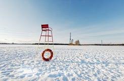 冬天晚上海滩 免版税库存图片