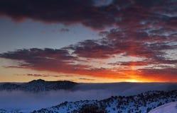 冬天有雾的日出 免版税库存照片