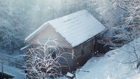 冬天木头的木小屋 股票录像