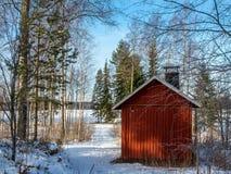 冬天木头的巴恩 库存照片