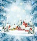冬天村庄圣诞节假日背景 免版税库存照片
