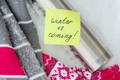 冬天来临,在贴纸的文本 图库摄影