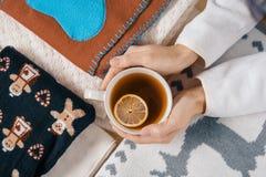 冬天来临,妇女的手拿着杯子热的茶用柠檬,背景是温暖的季节性衣裳,特写镜头视图从 库存照片