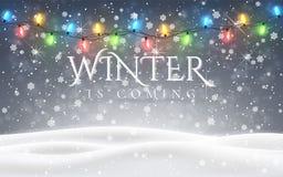 冬天来 圣诞节、多雪的夜森林地风景与落的雪,冷杉、轻的诗歌选,雪花为冬天和新 皇族释放例证