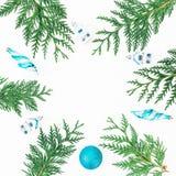 冬天树和蓝色装饰圣诞节圆的框架在白色背景 假日构成 平的位置,顶视图 免版税图库摄影