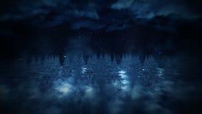 冬天森林例证,夜景,抽象自然背景,圈风景动画, 股票录像