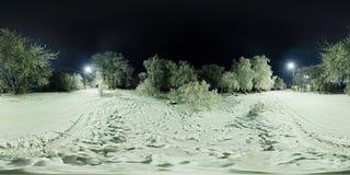 冬天森林和一条路球状全景有灯笼的在 库存图片