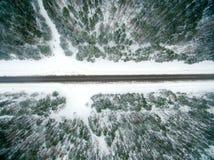 冬天森林和柏油路 在视图之上 照片拍了与寄生虫 杉木和云杉的森林有一条黑路的在 图库摄影