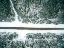 冬天森林和柏油路 在视图之上 照片拍了与寄生虫 杉木和云杉的森林有一条黑路的在 库存照片