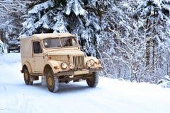 冬天森林越野旅途 库存照片