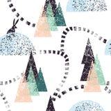 冬天森林足迹样式 库存图片
