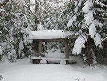 冬天森林长凳 库存图片