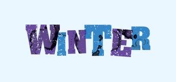 冬天概念被盖印的词艺术例证 免版税图库摄影