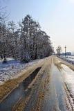 冬天横向乡下村庄 免版税库存照片