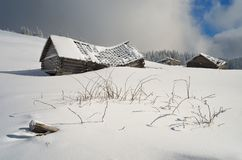 冬天横向在乡下 库存照片