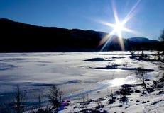 冬天横向在挪威 免版税库存照片