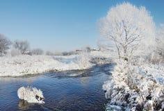冬天横向在河的一个晴天 免版税库存照片
