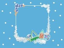 冬天横幅有浅兰的背景,雪花 图库摄影