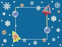 冬天横幅有深蓝背景,雪花,圣诞节 皇族释放例证