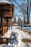 冬天步行在一个积雪的传统罗马尼亚村庄 库存照片