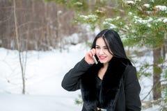 冬天汽车故障-年轻美好的妇女呼叫请求帮助,路 图库摄影