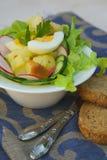 冬天沙拉用黑面包 图库摄影