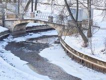 冬天河和一座石桥梁在城市停放 图库摄影
