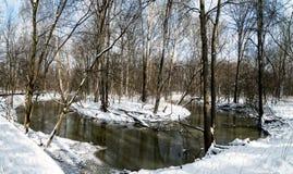 冬天河弯 库存图片