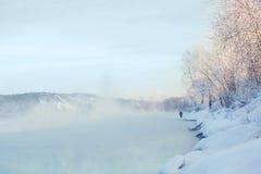 冬天河风景 免版税图库摄影