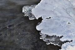 冬天河-冰和雪在水中与岩石在底部 免版税库存照片