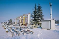 冬天油和煤气产业 图库摄影